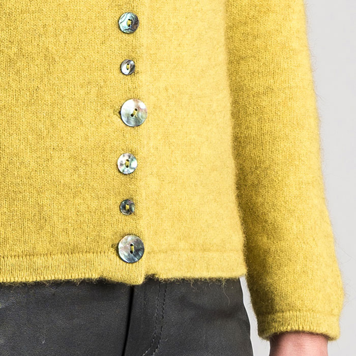 Merino Mink Shell Cardigan in Golden Pearl Detail