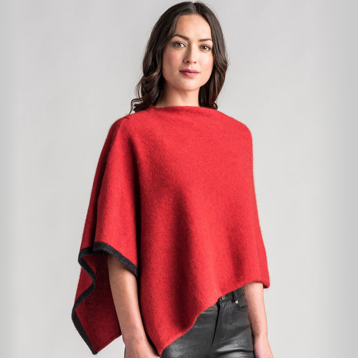 Possum Merino Two Tone Poncho in Redcurrant