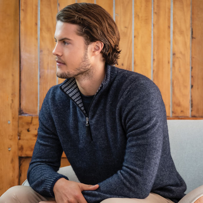 Merino Mink Mens Half Zip with Striped in River