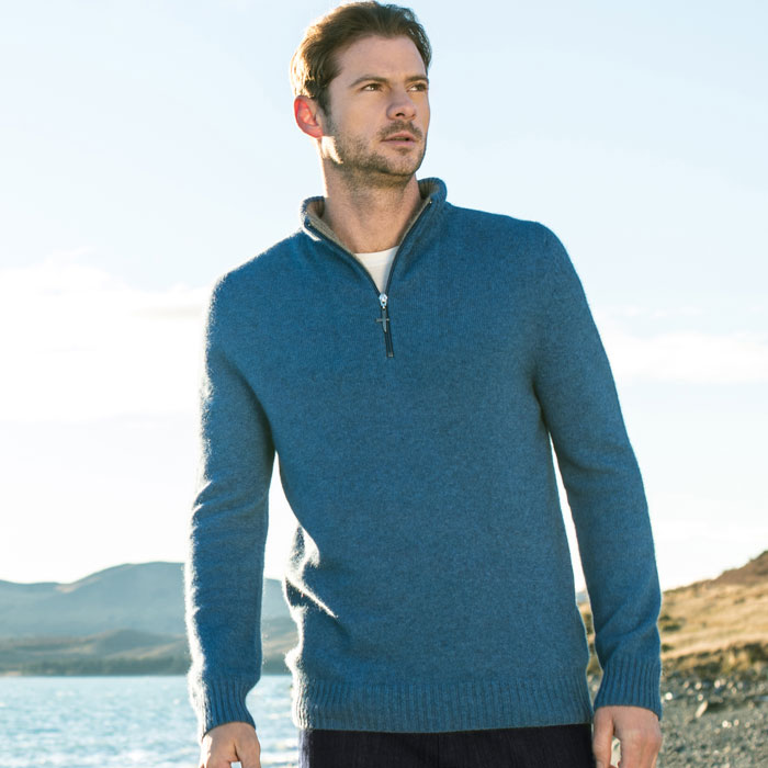 Possum Merino Untouched World Estuary Half Zip in Ocean Lifestyle