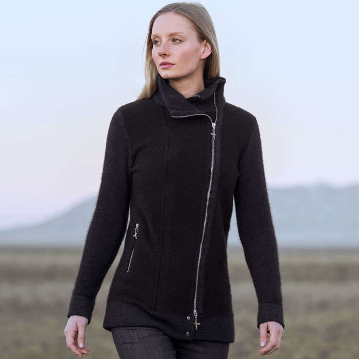 Possum Merino Untouched World Inspire Jacket in Slate Lifestyle