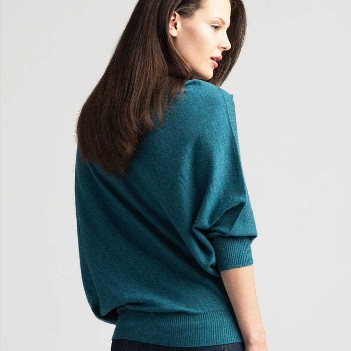 Possum Merino Untouched World Cubic Sweater in Sea Green Back