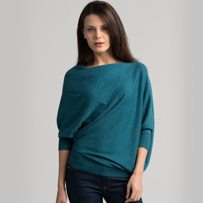 Possum Merino Untouched World Cubic Sweater in Sea Green Front