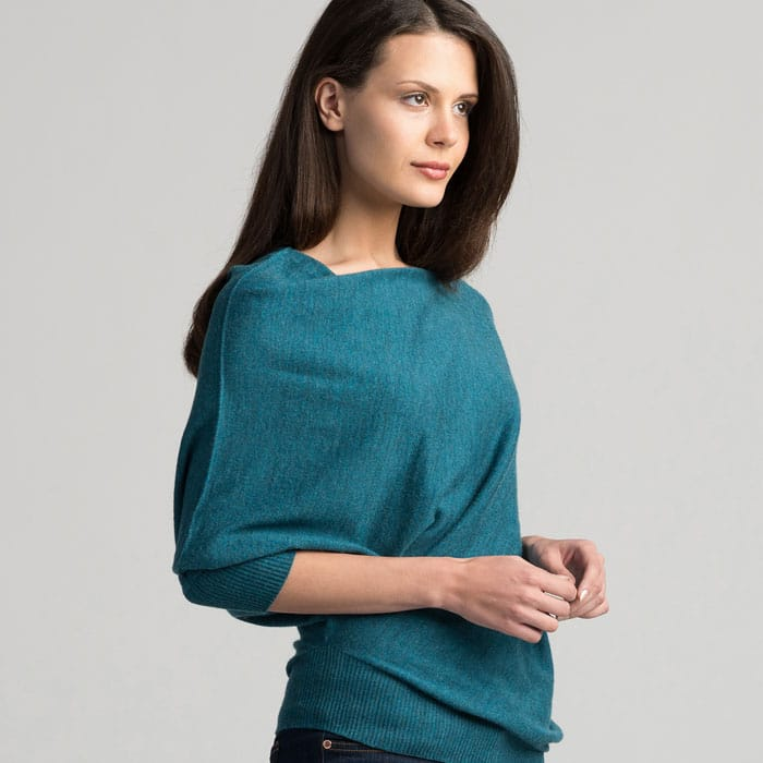 Possum Merino Untouched World Cubic Sweater in Sea Green Side