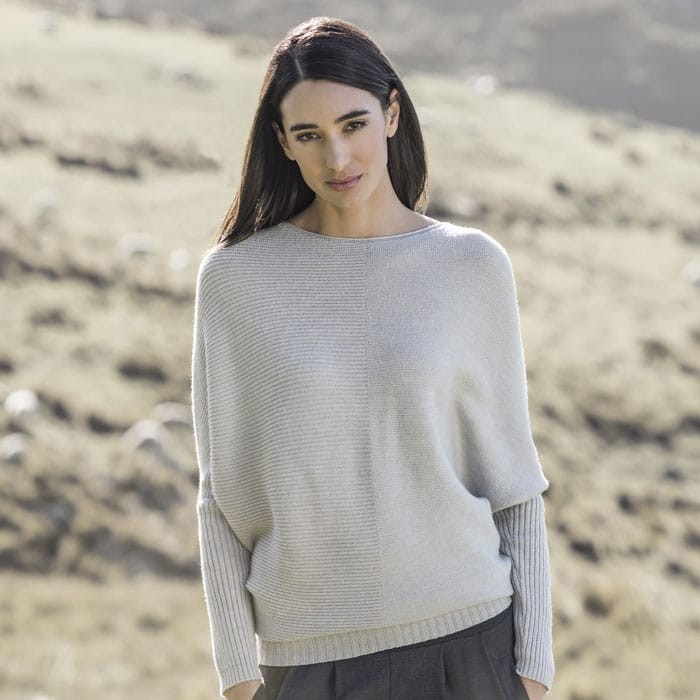 Possum Merino Untouched World Flitch Sweater in Light Silver Lifestyle 1