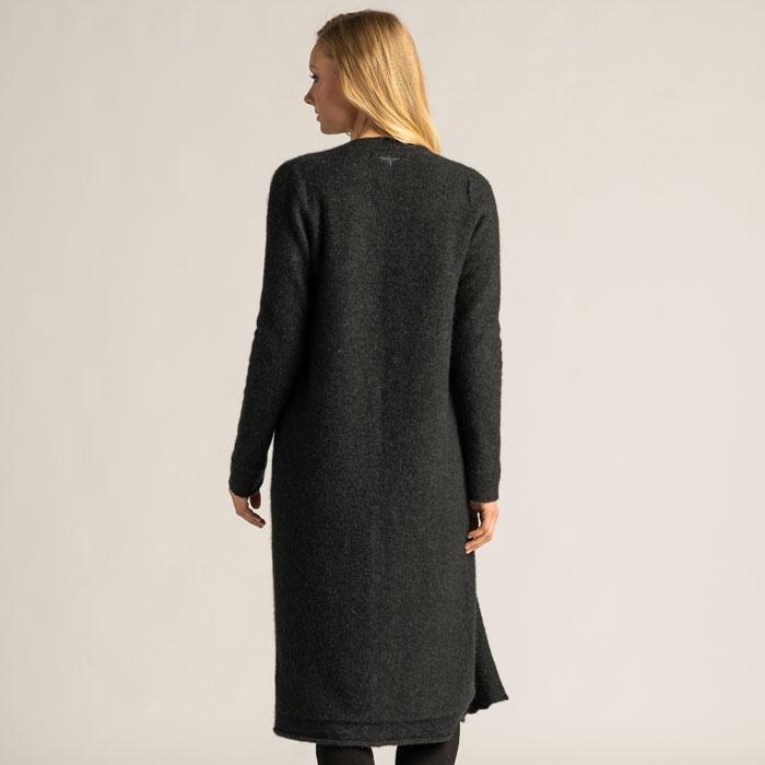 Possum Merino Coat Cardi in Graphite Back