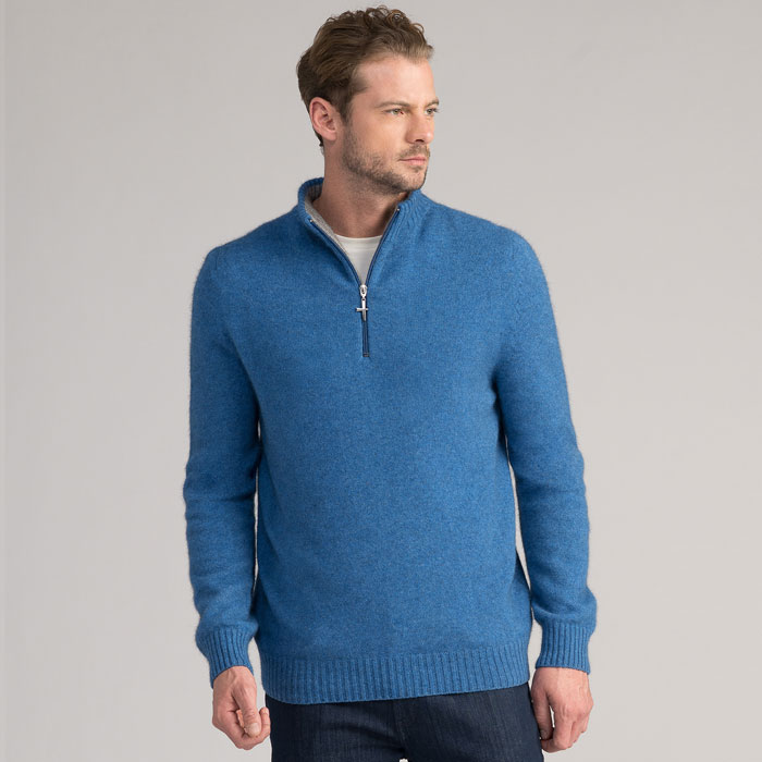 Possum Merino Estuary Half Zip in Ocean Side