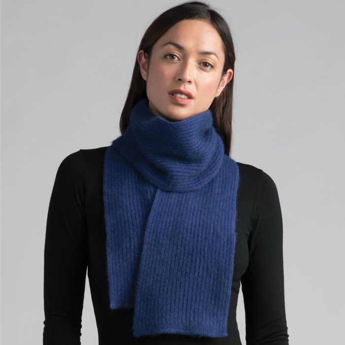 Possum Merino Fine Rib Scarf in Duke