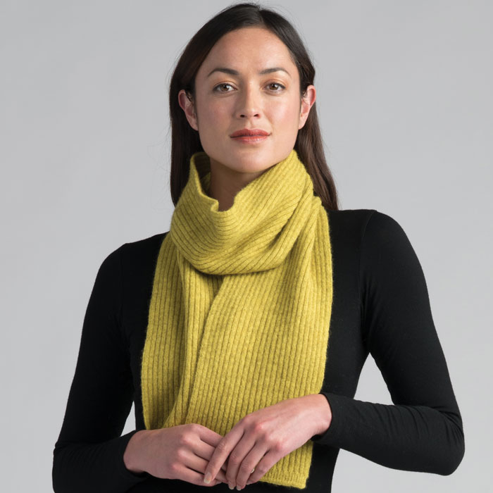 Possum Merino Fine Rib Scarf in Golden Pearl