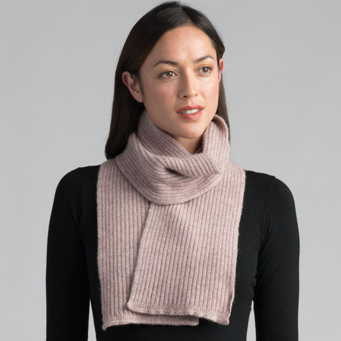 Possum Merino Fine Rib Scarf in Wistful