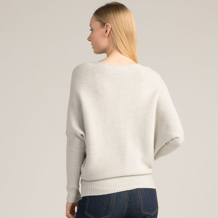 Possum Merino Flitch Sweater in Silver Back