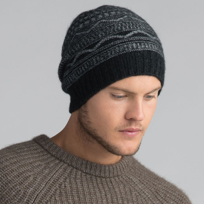 Possum Merino Peak Beanie Hat in Graphite