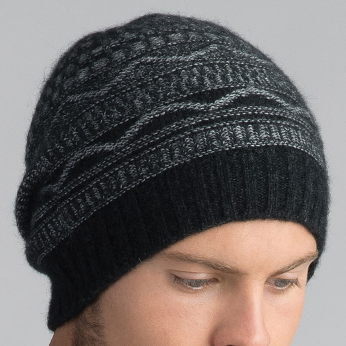 Possum Merino Peak Beanie Hat in Graphite Detail