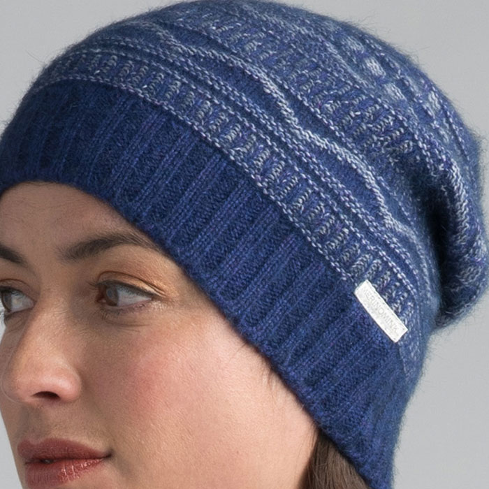 Possum Merino Peak Beanie Hat in Duke Detail
