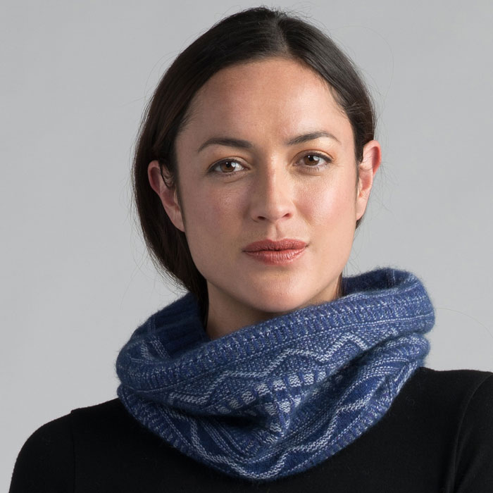 Possum Merino Peak Snood in Duke Detail