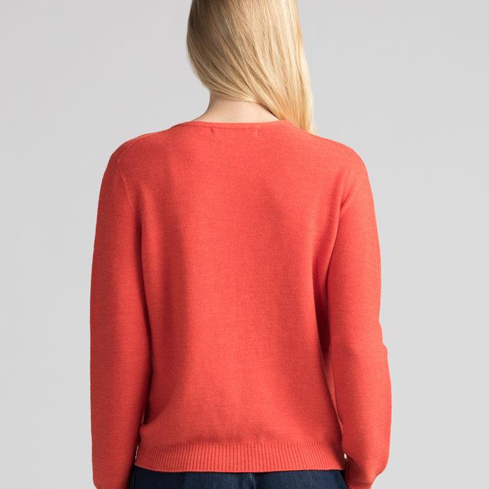 Merino Stitch Sweater in Tangerine Back