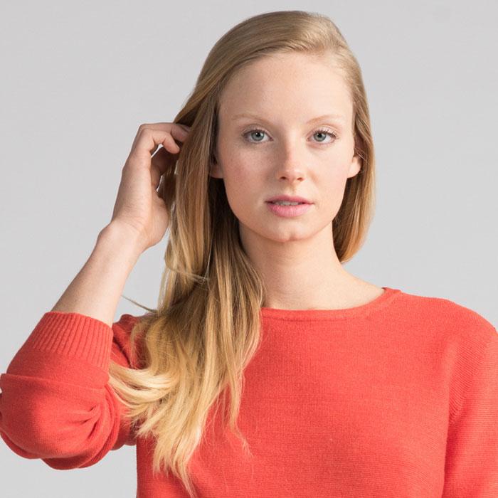 Merino Stitch Sweater in Tangerine Detail