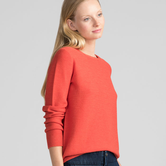 Merino Stitch Sweater in Tangerine Side