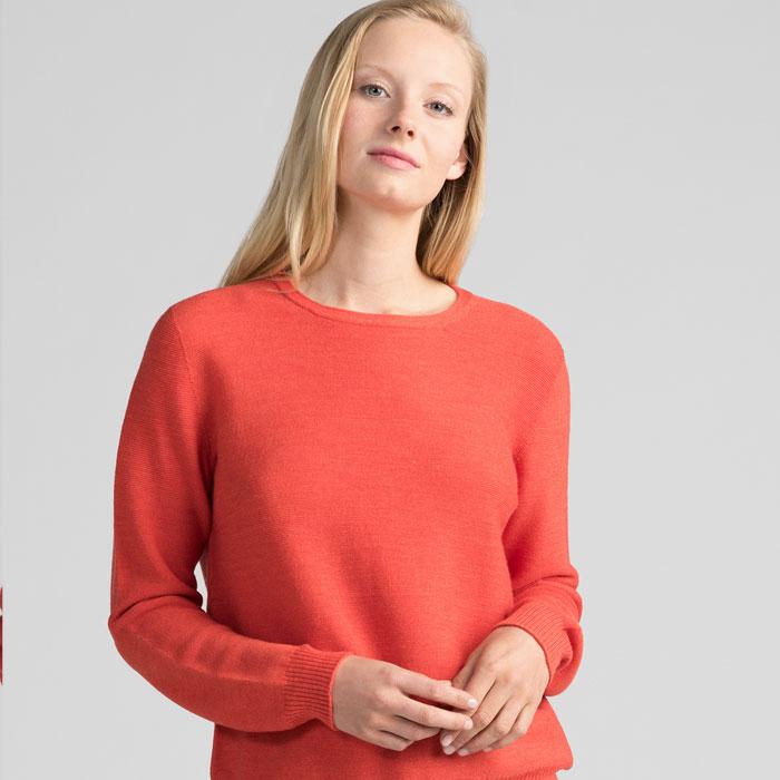 Merino Stitch Sweater in Tangerine