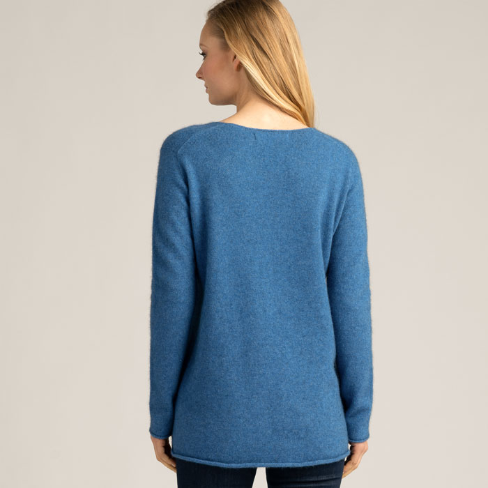 Possum Merino Untouched World Essential Sweater in Ocean Back Detail