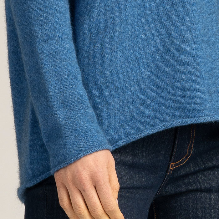 Possum Merino Untouched World Essential Sweater in Ocean Sleeve Detail
