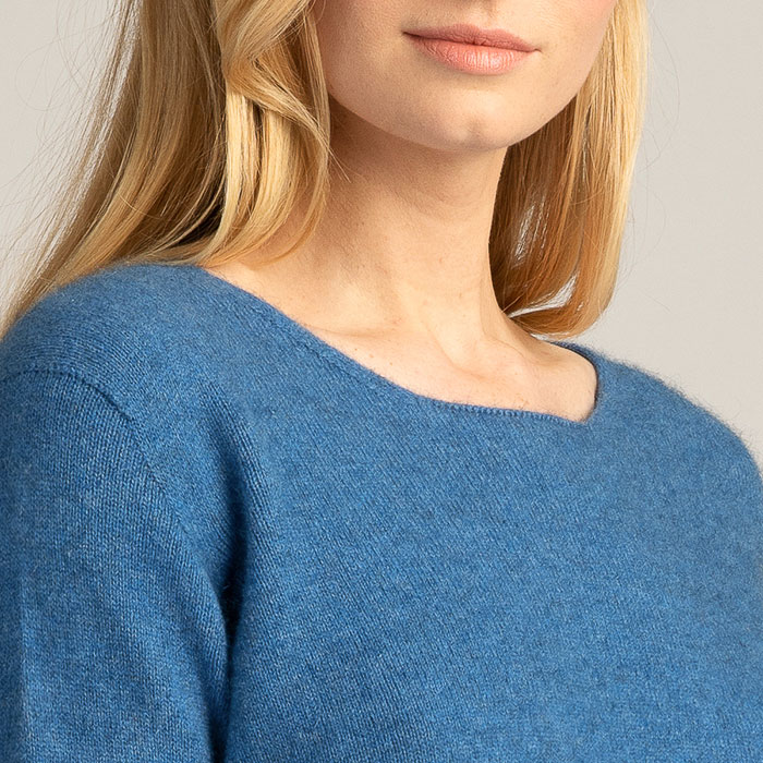 Possum Merino Untouched World Essential Sweater in Ocean Neck Detail