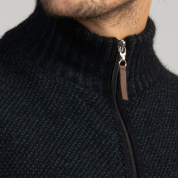 Merino Mink Britten Gilet in Jet Zip Detail