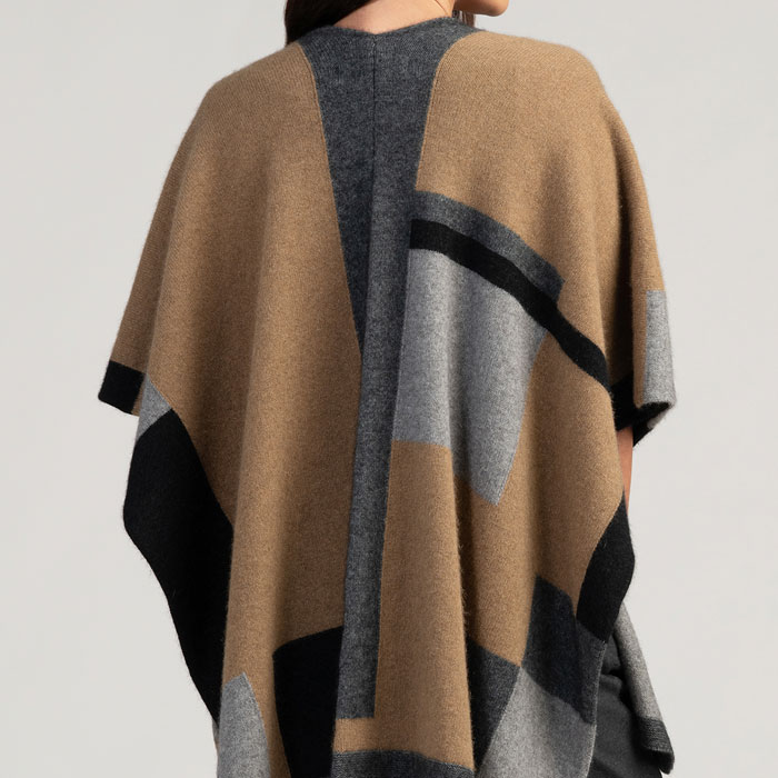 Merino Mink Empress Resort Wrap in Camel Multi Back