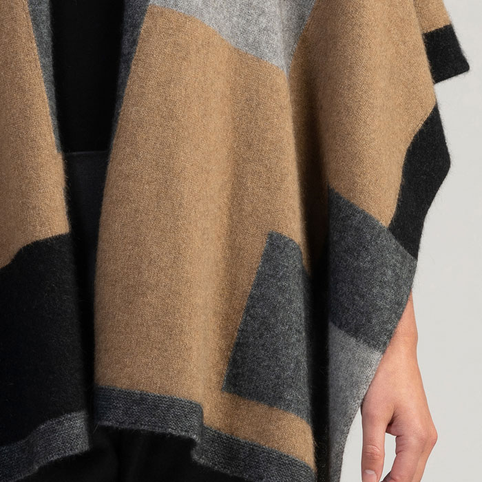 Merino Mink Empress Resort Wrap in Camel Multi Detail