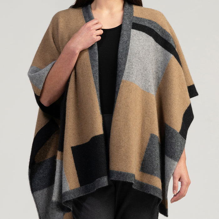 Merino Mink Empress Resort Wrap in Camel Multi Front