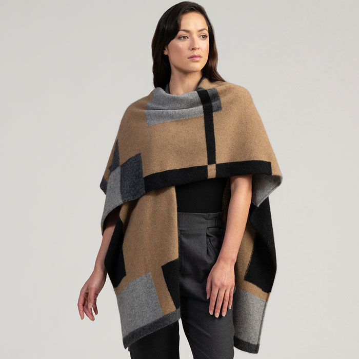Merino Mink Empress Resort Wrap in Camel Multi