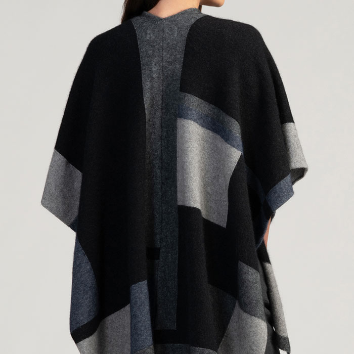 Merino Mink Empress Resort Wrap in Jet Multi Back