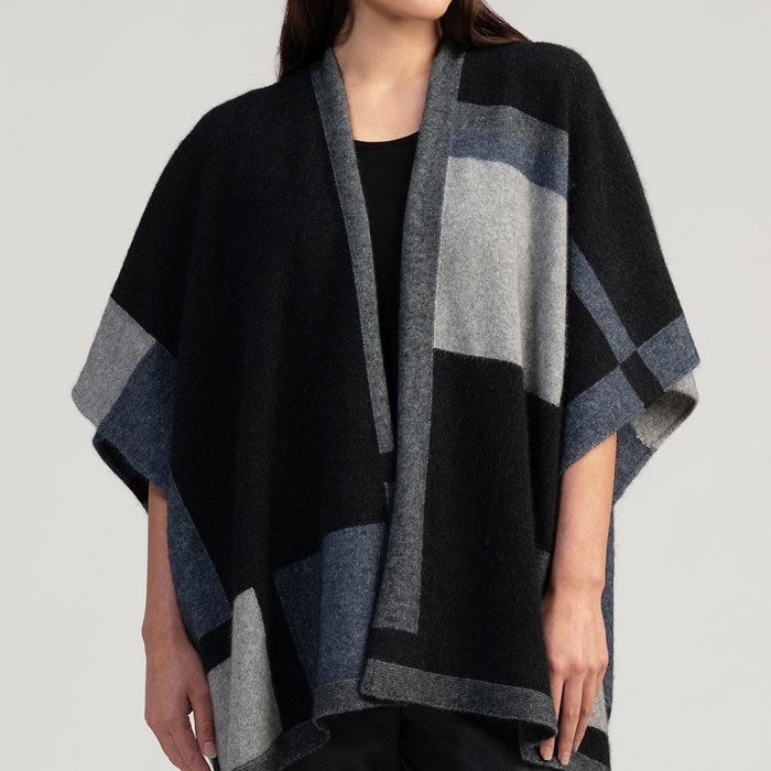 Merino Mink Empress Resort Wrap in Jet Multi Front
