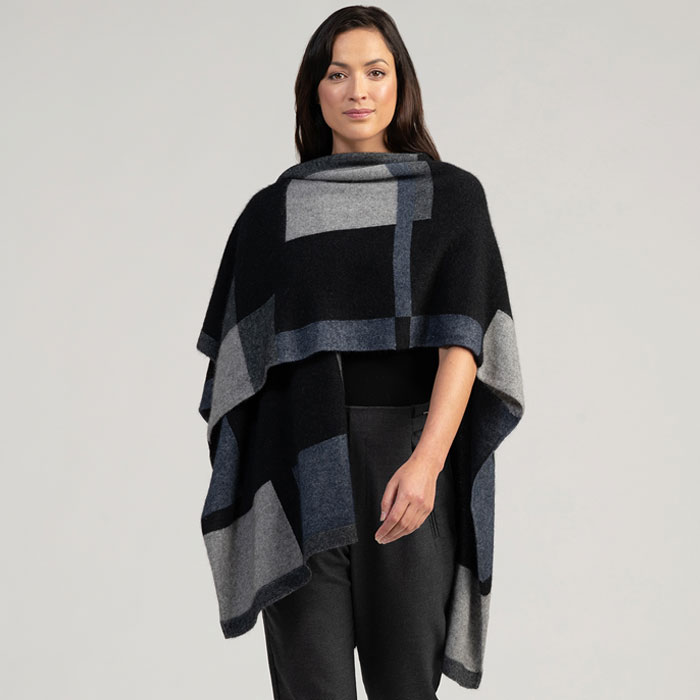 Merino Mink Empress Resort Wrap in Jet Multi