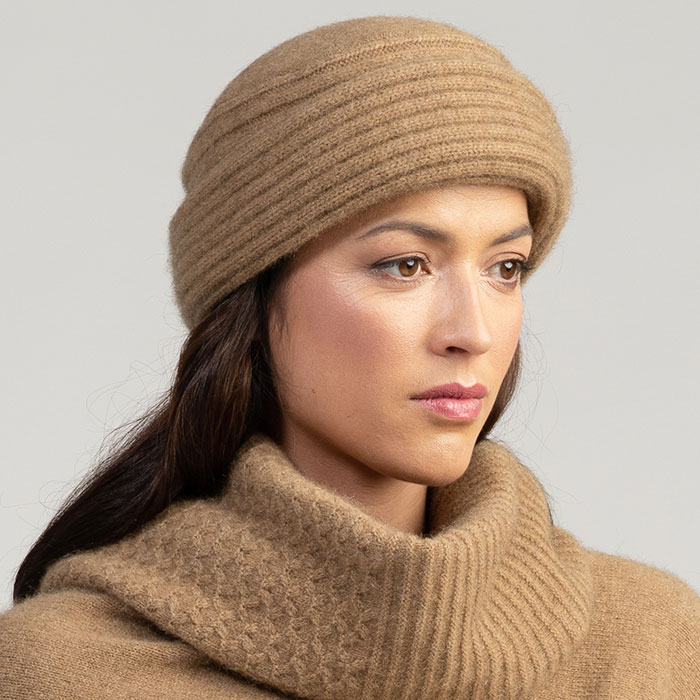 Merino Mink Felted Hat in Camel