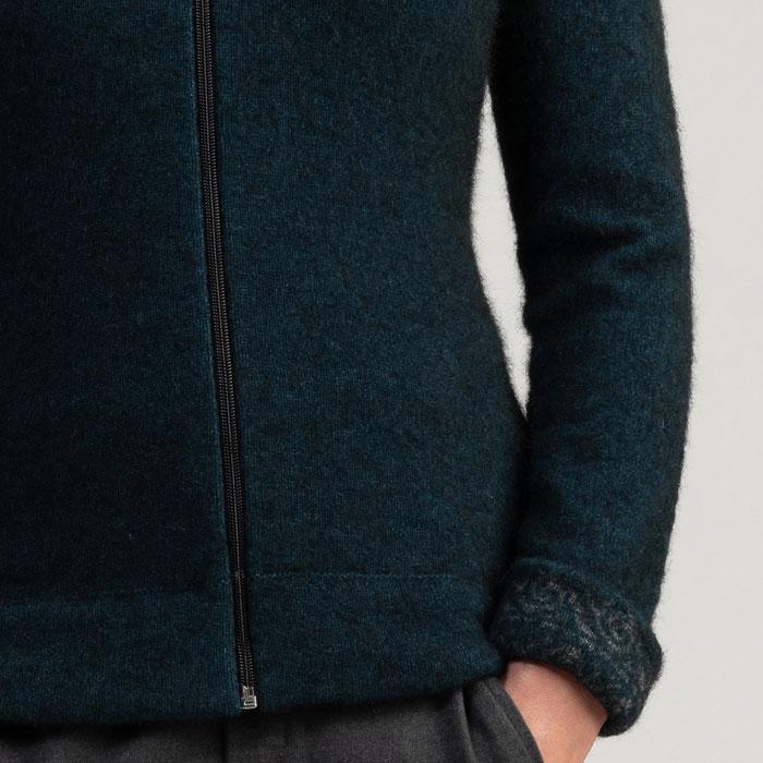 Merino Mink Felted Jacket in Peacock Cuff Detail