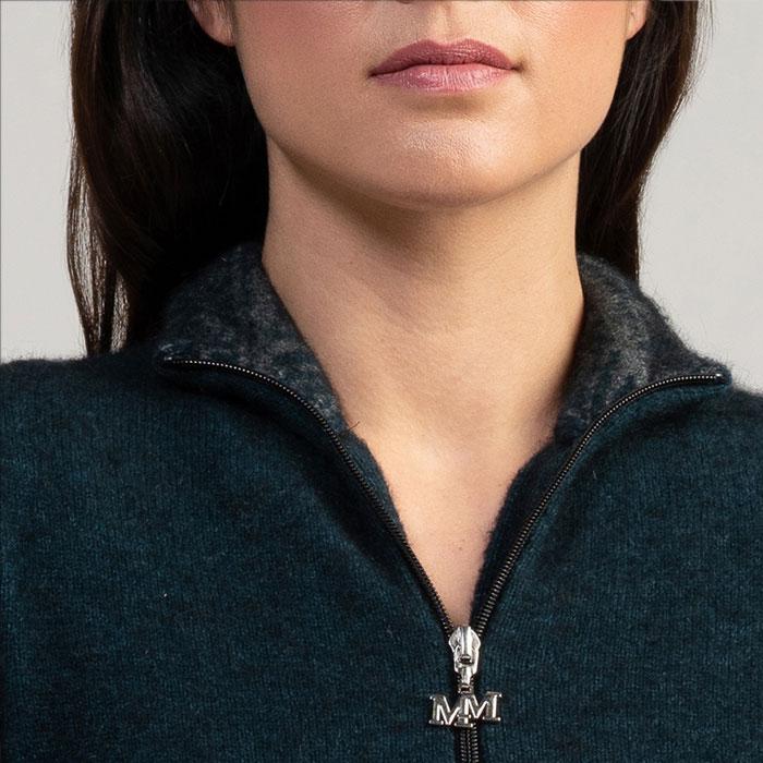 Merino Mink Felted Jacket in Peacock Collar detail