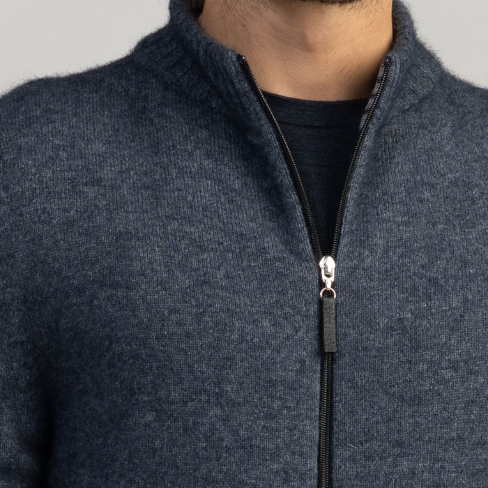 Merino Mink Full zip Jacket in River Zip Detail