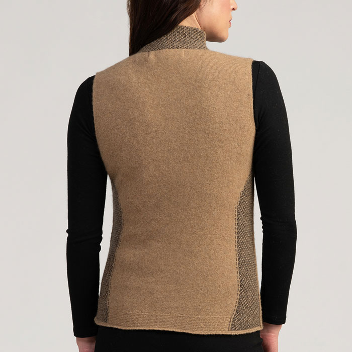 Merino Mink Mt Cook Gilet in Camel Back