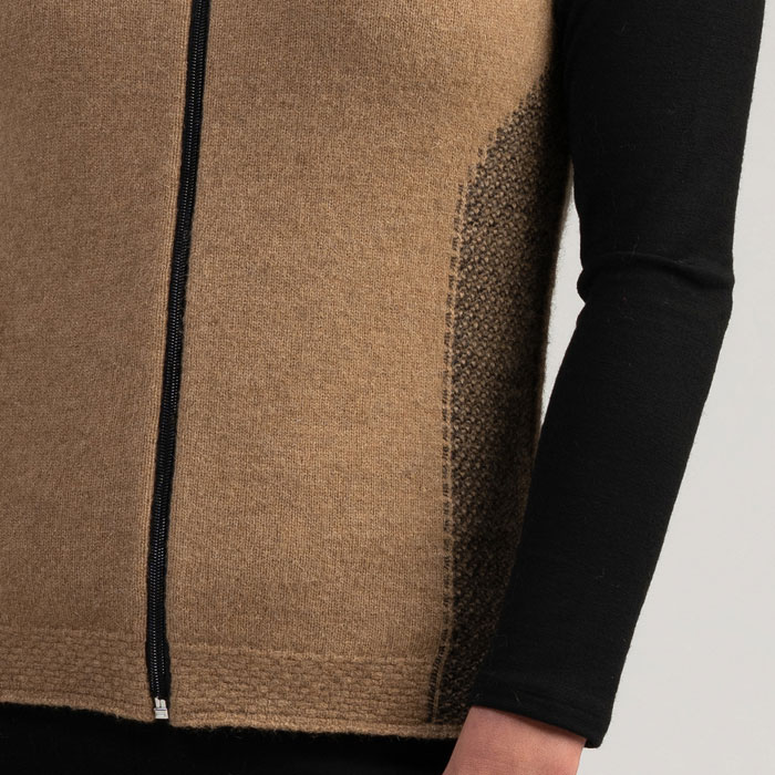 Merino Mink Mt Cook Gilet in Camel Detail