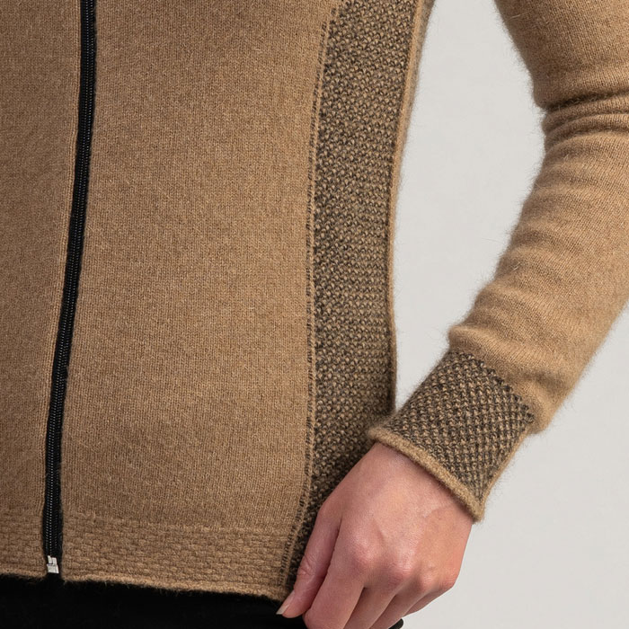 Merino Mink Mt Cook Jacket in Camel Detail