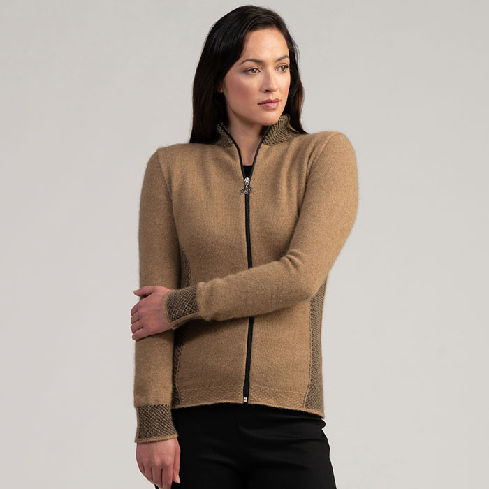 Merino Mink Mt Cook Jacket in Camel