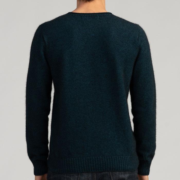 Merino Mink Classic Crew Neck Sweater in Peacock Back