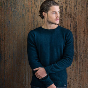 Merino Mink Classic Crew Neck Sweater in Peacock Lifestyle