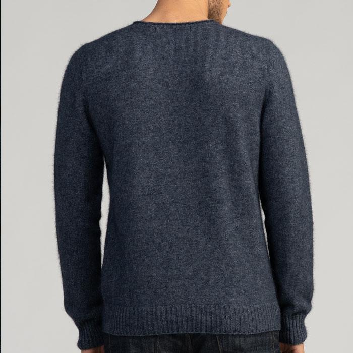Merino Mink Classic Crew Neck Sweater in River Back