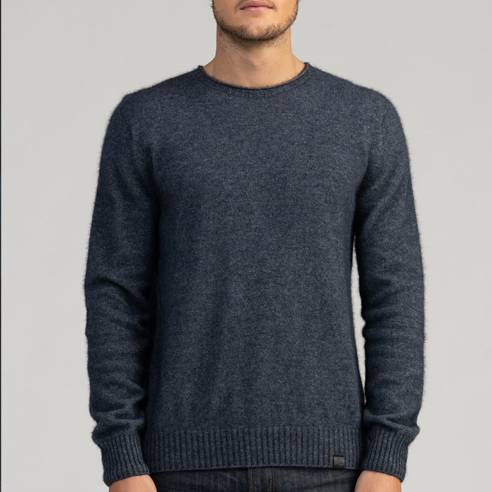 Merino Mink Classic Crew Neck Sweater in River Front