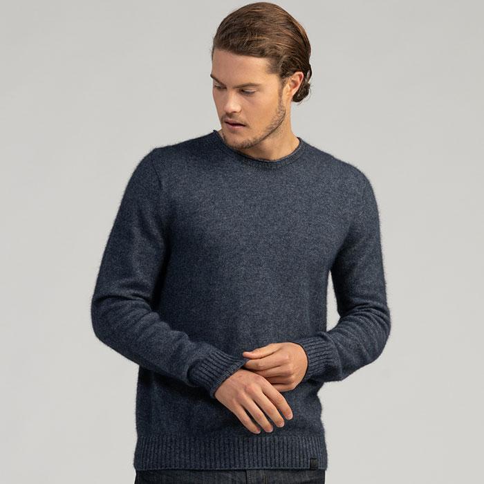 Merino Mink Classic Crew Neck Sweater in River