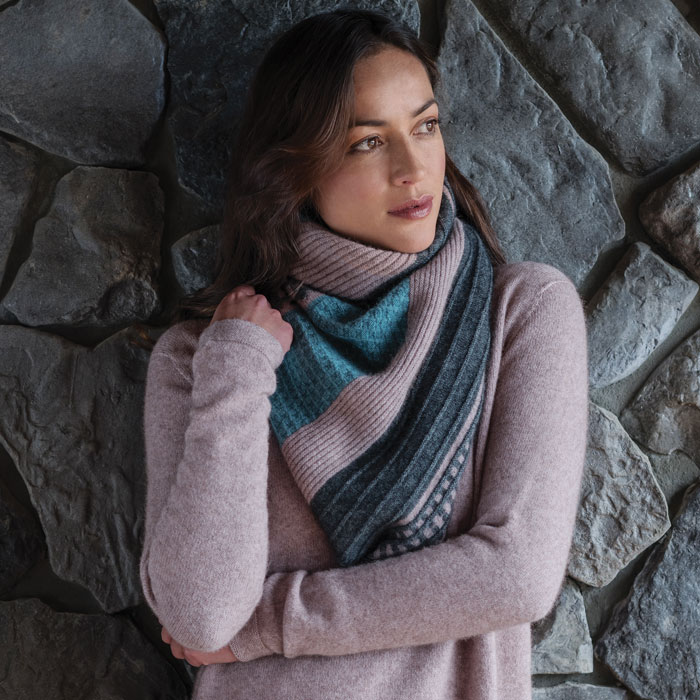 Merino Mink River Shawl Scarf in Wistful Lifestyle 2
