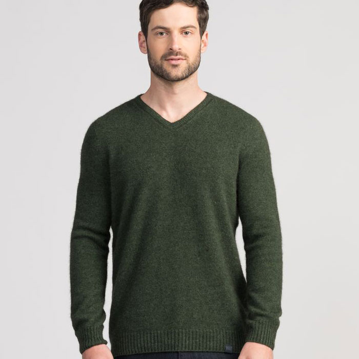 Untouched World Classic V Neck in Matipo Green Front
