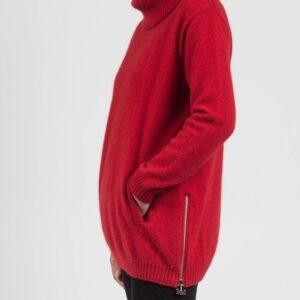 Merino Mink Zip Tunic in Fiery Red Side